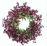 "20"" Festive Red Berry and Holly Leaves Artificial Christmas Wreath - Unlit"