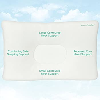 Cervical Pillow by Xtra-Comfort - Neck Pain Relief for Back and Side Sleepers - Comfortable & Therapeutic Chiropractic & Orthopedic Support Contours for Head & Spine Alignment - Washable Cover (White)