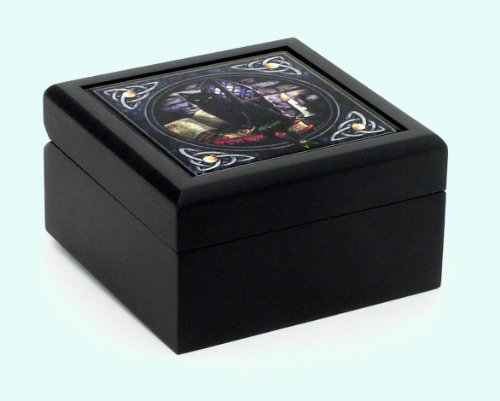 Lisa Parker Fantasy Small Tile Jewelry Box Black Cat on Books 5×5 x 3″