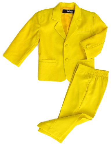 G218 Boys 2 Piece Suit Set Toddler To Teen (4T, Yellow) front-568670