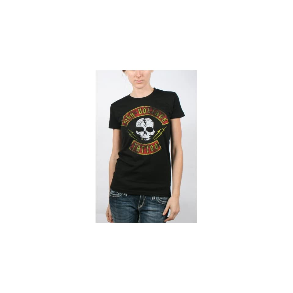 High Voltage Tattoo Brigade Girls T Shirt in Black, Size X Large ...