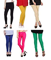 Shiva collections B/Y/S/RB/P/G cotton legging ( SET OF 6)