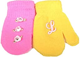 Set of Two Pairs Magic Mittens for Infants Ages 6-24 Months One with Monogram