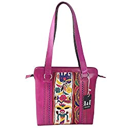 A&E Womens Pink Sling Genuine Leather Kutchi Ethnic Embriodery Cutwork Bags