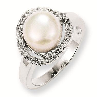 Sterling Silver CZ Freshwater Cultured Pearl Ring - Size 7