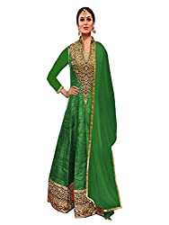 Green Banglori Silk Semi Stitched Anarkali Suit