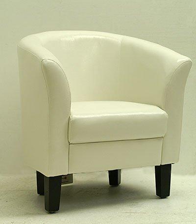 cream faux leather arm chair / tub chair seating