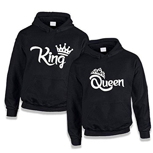 Coppia di Felpe You and Me King and Queen con Corone Nere Uomo S Donna S Con Cappuccio