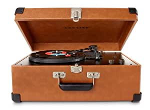 Crosley CR49-TA Traveler 3-Speed Turntable with Stereo Speakers and Adjustable Tone Control (Tan)