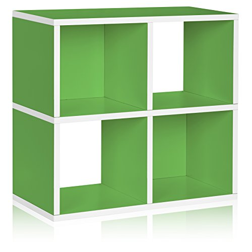 Way Basics Eco 4 Cubby Bookcase, Stackable Organizer and Storage Shelf, Green (made from sustainable non-toxic zBoard paperboard) Kids 3 Shelf Bookcase