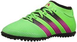 adidas Performance Ace 16.3 Primemesh TF J Soccer Shoe (Little Kid/Big Kid),Green/Shock Pink/Black,6 M US Big Kid