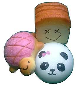 Amazon.com: Squishy & Slow Rise JUMBO Panda Charm, Turtle Charm, and Toast Bread Loaf: Toys & Games