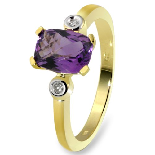 9Ct Yellow Gold Ring With 1 Amethyst And 2 Diamonds 0.02 Carat By Goldmaid - Size N