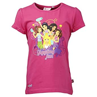 LEGO Wear T-shirt  Col ras du cou Manches courtes Opaque Fille - Rose - Rosa (458 PINK) - FR : 5 ans (Taille fabricant : 110)