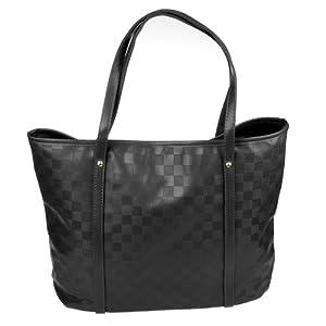 KLOUD City ® Black Color Soft PU Leather Checkerboard Plaid Versatile Tote Handbag Portable Shoulder Bag