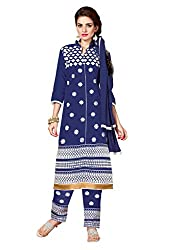 RoyalBlue Embroidered Cotton Dress Material