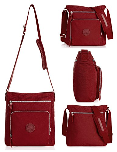 Oakarbo-Nylon-Crossbody-Purse-Multi-Pocket-Travel-Shoulder-Bag