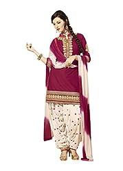 BanoRani Rani & Cream Color Embroidered UnStitched Dress Material