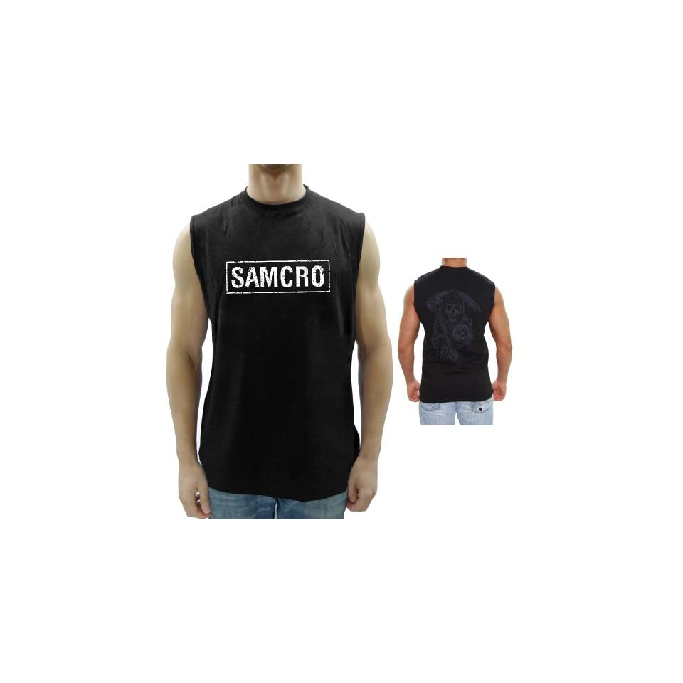 a813694e Sons Of Anarchy Samcro Boxed Reaper Black Adult Muscle Sleeveless T Shirt  Clothing