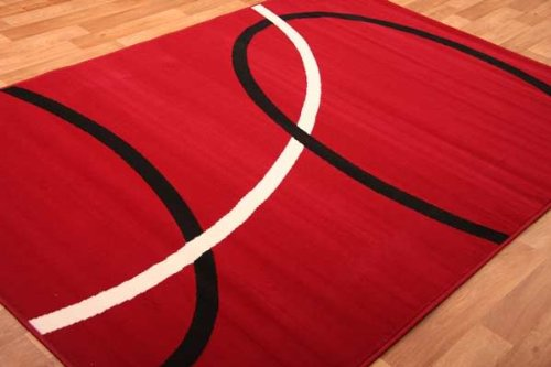 Bright Red Black Cream Modern Swirl Design Rug 240cm x 330cm (7ft 10
