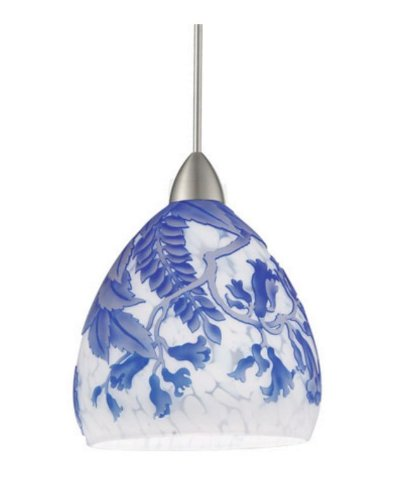 WAC Lighting WAC Lighting QP536-BL/CH Cameo - One Light Pendant, Chrome Finish with Blue Glass