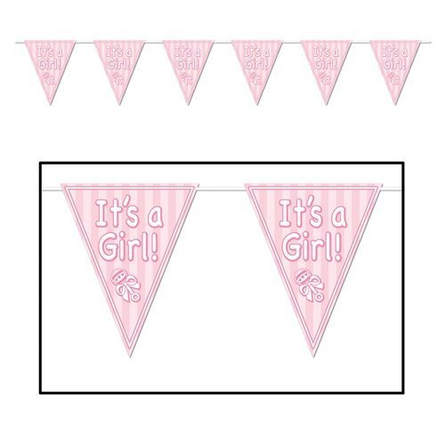 It'S A Girl Pennant Banner Party Accessory (1 Count) (1/Pkg) front-1049389
