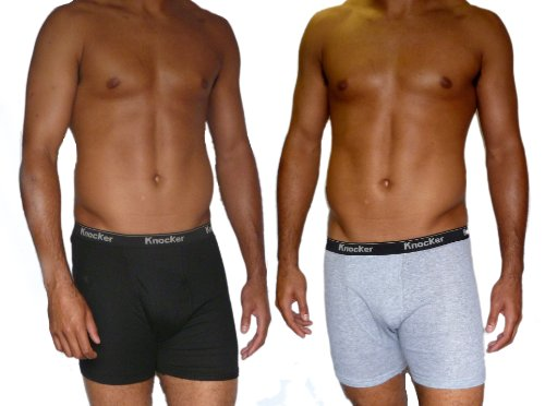 6 Pairs Mens Knocker Boxer Shorts 3 Black 3 Grey All sizes 100% cotton with elastic waistband
