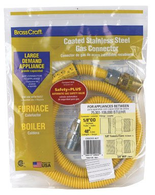 Brasscraft Cssc22E-48 P 5/8-Inch Outer Diameter Safety Plus Gas Appliance Connector With Excess Flow Valve
