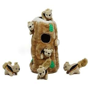 Outward Hound Kyjen 31004 Hide A Squirrel Plush Dog Toy 7 Piece, Ginormous, Brown