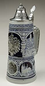 Old Heritage Coat of Arms and Landmarks Full Relief Stone Grey Authentic German Beer Stein by King Werke Germany (aka King Werks / King-Works)