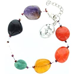 Chakra Tumble with Crystal Beads Bracelet with Velvet Pouches