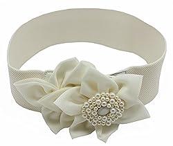 Amazingusa Women's Candy Color Big Flower Chiffon Elastic Belt White