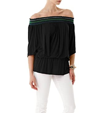 Michael Stars Sheer Jersey Smocked Peasant Top, One Size, Black