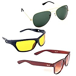 Elligator Stylish Aviator Gold Green And Nightvision Yellow With Brown Wayfarer Sunglasses Combo ( Set of 3 )