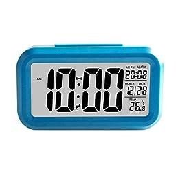AutumnFall® Smart Simple Silent LED Alarm Clock Date Display Repeating Snooze Sensor Night Light (Blue)
