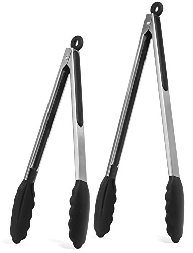 [Elite KitchenwareTM Stainless Steel Tongs Set - Salad Tongs - Serving Tongs - Kitchen Tongs - 12 Inch & 14 Inch Cooking Tongs With Silicone Tips, Perfect Tongs For All Food & BBQ - Kitchen] (Easy Halloween Cold Appetizers)