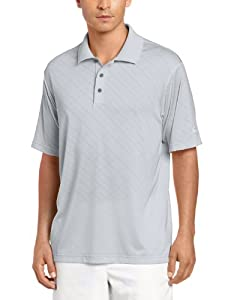 adidas Golf Men's Climacool Diagonal Textured Solid Polo Shirt, Chrome/White, Small