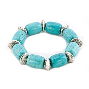 Pugster Bling Jewelry Fahsion Stretch Green Turquoise Adjustable Beads Charm Bracelet