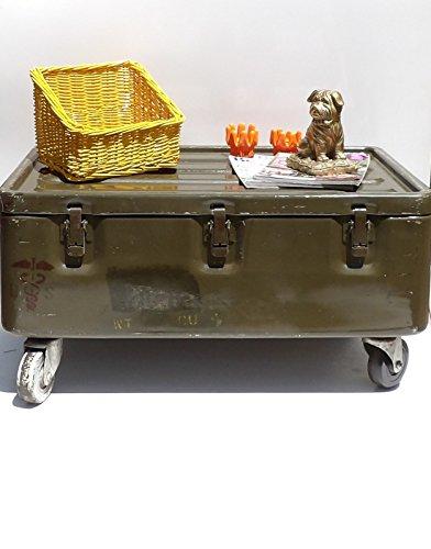 Military Trunk Coffee Table Foot Locker on Wheels 0