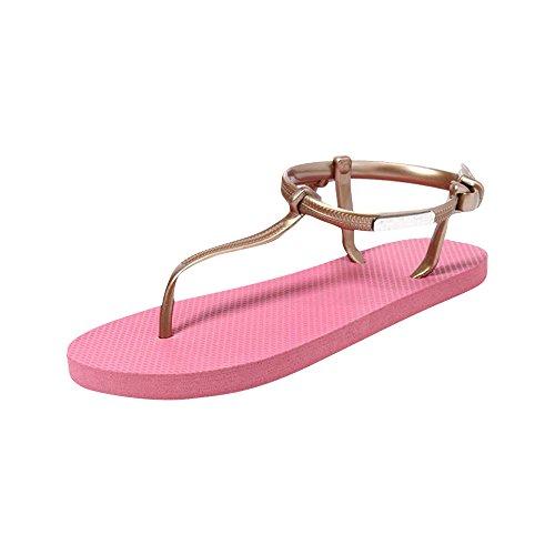 Fortan Scarpe ragazza delle donne sandali estate scarpe da spiaggia semplici sandali piatti (EU=35, Rosa caldo)