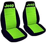 2 front and a rear black and lime green seat covers for a 1987 Jeep Wrangler.