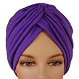 Purple Radiant Pleated Turban Hat Head Cover Sun Cap