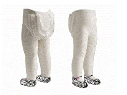JazzyToes Mary Jane Lacy Baby Tights, White/Pink Flower, 12 24 Months