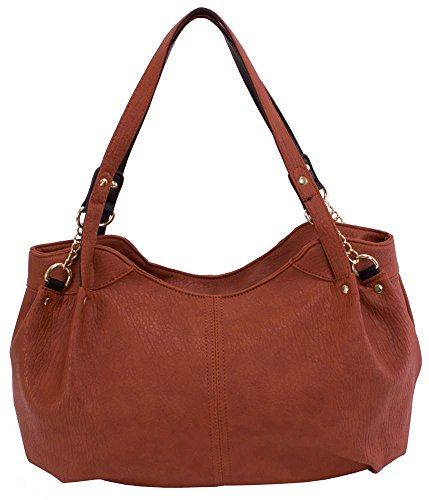 Pebble-Grain-Faux-Leather-Handbag-in-Brown