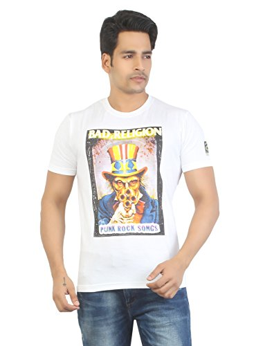 Aliep Aliep Stylish White Printed Half Sleeves T-Shirt For Men | ALP1636 (Multicolor)