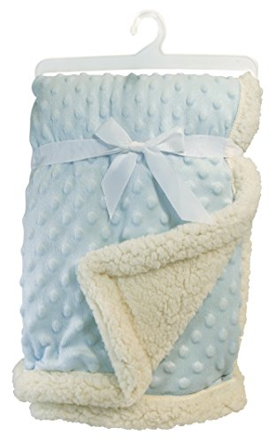 Stephan Baby Super-Soft Reversible Velour Plush/Sherpa Plush Bumpy Blanket, Blue