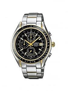 Casio Men's Edifice EF503SG-1AV Silver Stainless-Steel Quartz Watch with Black Dial