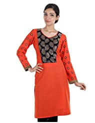 Dashing Orange Cotton Kurta With Printed Sleeve
