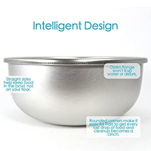 Basis Pet Stainless Steel Dog Bowls Made in the USA Medium 1 Each