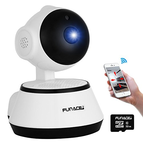 WiFi IP Network Wireless Camera +32GB MicroSD card (HD Megapixel/Night Vision/2 Way Audio/Pan&Tilt) Remote Home Monitoring P2P Video Security Surveillance Motion Activated 720p Cam IOS Android PC APP (Webcam Zoom Remote compare prices)
